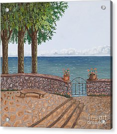 Amalfi Terrace Over Looking The Sea Acrylic Print by Stevie Stefano