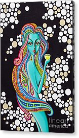 Acrylic Print featuring the painting Amanda  Groovy Chick Series by Joseph Sonday