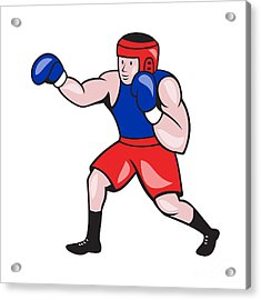 Amateur Boxer Boxing Cartoon Acrylic Print by Aloysius Patrimonio