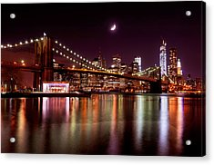 Amazing New York Skyline And Brooklyn Bridge With Moon Rising Acrylic Print