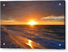 Acrylic Print featuring the photograph Amazing Sunrise Colors And Waves On Navarre Beach by Jeff at JSJ Photography