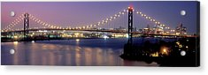 Ambassador Bridge At Dusk, Detroit Acrylic Print