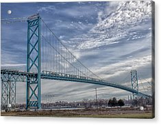 Acrylic Print featuring the photograph Ambassador Bridge From Detroit Mi To Windsor Canada by Peter Ciro