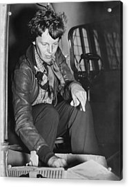 Amelia Earhart Checks Supplies Acrylic Print by Underwood Archives