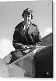 Amelia Earhart In Cockpit Acrylic Print by Underwood Archives