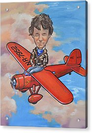 Acrylic Print featuring the painting Amelia Earhart by Murray McLeod
