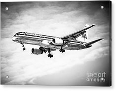 Amercian Airlines 757 Airplane In Black And White Acrylic Print by Paul Velgos