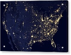 America At Night Acrylic Print by Adam Romanowicz