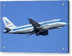 American Airbus A319-112 N744p Piedmont Pacemaker Phoenix Sky Harbor December 22 2014 Acrylic Print by Brian Lockett