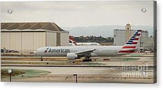 American Airliner On Runway At Lax In May 2014 Acrylic Print