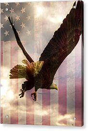 American Bald Eagle In Flight Wtih Flag Acrylic Print