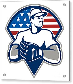 American Baseball Pitcher Gloves Retro Acrylic Print by Aloysius Patrimonio