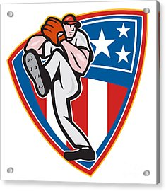 American Baseball Pitcher Shield Acrylic Print by Aloysius Patrimonio