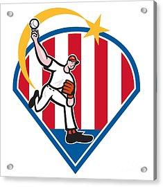 American Baseball Pitcher Star Acrylic Print by Aloysius Patrimonio
