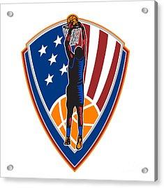 American Basketball Player Dunk Ball Shield Retro Acrylic Print by Aloysius Patrimonio