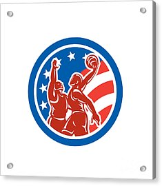 American Basketball Player Dunk Block Circle Retro Acrylic Print by Aloysius Patrimonio