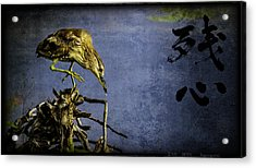 Acrylic Print featuring the mixed media American Bittern With Brush Calligraphy Lingering Mind by Peter v Quenter
