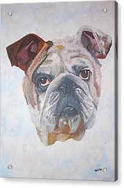 Acrylic Print featuring the painting American Bulldog Pet Portrait by Tracey Harrington-Simpson