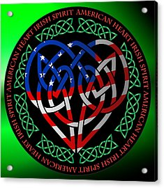 Acrylic Print featuring the digital art American Celtic Heart by Ireland Calling