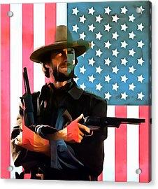 American Cowboy Clint Eastwood Acrylic Print by Dan Sproul