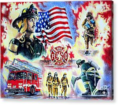 American Firefighters Acrylic Print by Andrew Read