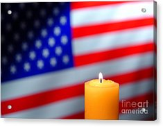 American Flag And Candle Acrylic Print by Olivier Le Queinec