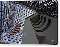 American Flag At The Jfk Library Acrylic Print by Juergen Roth