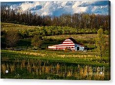 American Flag Barn Acrylic Print by Amy Cicconi