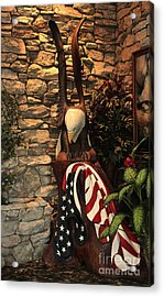 Acrylic Print featuring the photograph American Flag And Eagle Wood Carving by Marjorie Imbeau