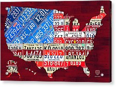 American Flag Map Of The United States In Vintage License Plates Acrylic Print by Design Turnpike