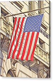 Acrylic Print featuring the photograph American Flag N.y.c 1 by Joan Reese