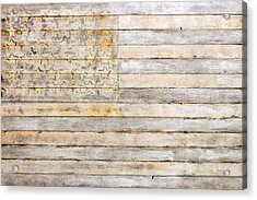 American Flag On Distressed Wood Beams White Yellow Gray And Brown Flag Acrylic Print