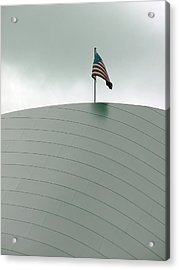 American Flag On Modern Museum In La Acrylic Print
