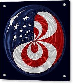 American Flag Orb Acrylic Print by Paulette Thomas