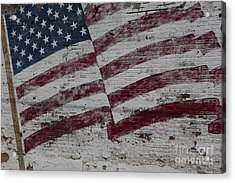 Acrylic Print featuring the photograph American Flag Painted On Brick Wall by Keith Kapple