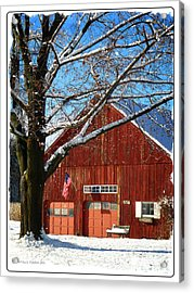 American Flag Red Barn Acrylic Print