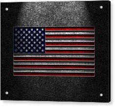 Acrylic Print featuring the digital art American Flag Stone Texture by Brian Carson
