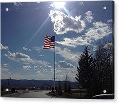 American Flag Waving In The Sunrays Acrylic Print by Shawn Hughes