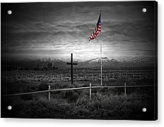American Flag With Cross Acrylic Print