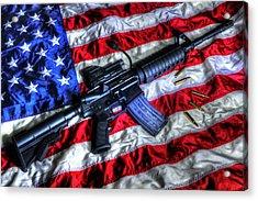 American Flag With Rifle Acrylic Print
