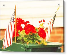 American Flags And Geraniums In A Wheelbarrow In Maine, One Acrylic Print