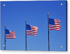 American Flags - Navy Pier Chicago Acrylic Print by Christine Till