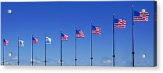 American Flags On Chicago's Famous Navy Pier Acrylic Print by Christine Till