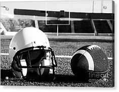 American Football And Helmet On Field Acrylic Print