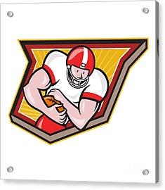 American Football Running Back Run Shield Cartoon Acrylic Print by Aloysius Patrimonio