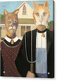American Gothic Cat Acrylic Print by G Kitty Hansen