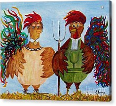 Acrylic Print featuring the painting American Gothic Down On The Farm - A Parody by Eloise Schneider