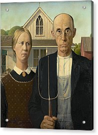 Acrylic Print featuring the photograph American Gothic by Grant Wood