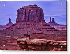 American Indian At Over Look Acrylic Print by Garry Gay