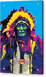American Indian Chief Acrylic Print by Gary Grayson